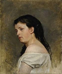 """""""Flickporträtt"""" målades av Karin Bergöös under studietiden och ropades in på en auktion av Hallsbergs kommun. Den avtäcktes i samband med utsällningen Kvinnliga avtryck."""